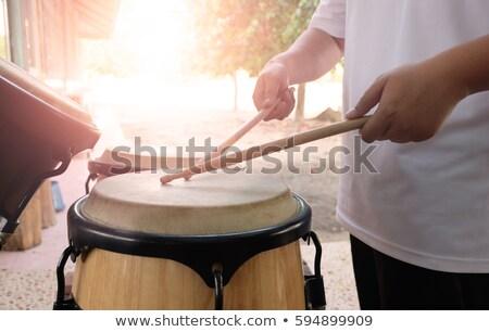 Stockfoto: Afrikaanse · mannen · spelen · trommel · zonsondergang · illustratie