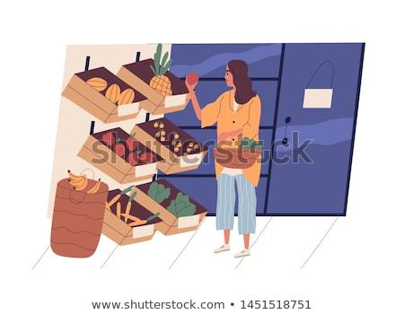 Mulher cesta compra diariamente produtos vetor Foto stock © robuart