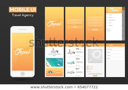 Mobile app Travel agency Material Design UI, UX, GUI. Responsive website. Stock photo © Leo_Edition