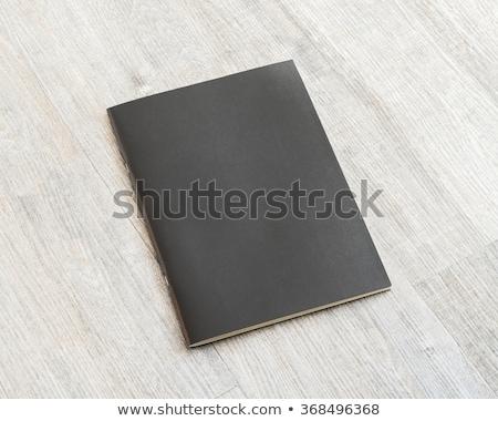 Сток-фото: журнала · охватывать · черный · деревянный · стол · белый