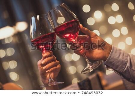 couple toasting wine glass while having meal stock photo © wavebreak_media