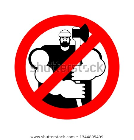 lumberjack Stop sign. woodcutter ban. Road red Forbidden symbol Stock photo © popaukropa