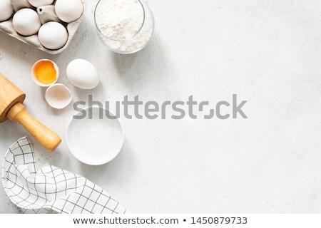 Mąka jaj żywności tabeli gotowania świeże Zdjęcia stock © yelenayemchuk
