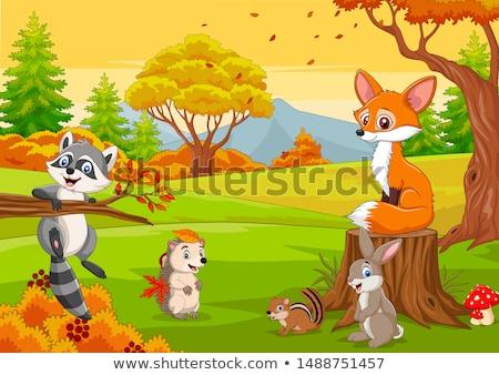rajzolt · állat · játék · jókedv · park · fa · szeretet - stock fotó © aminmario11