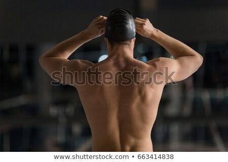 背面図 男性 スイマー ゴーグル スイミング 手 ストックフォト © deandrobot