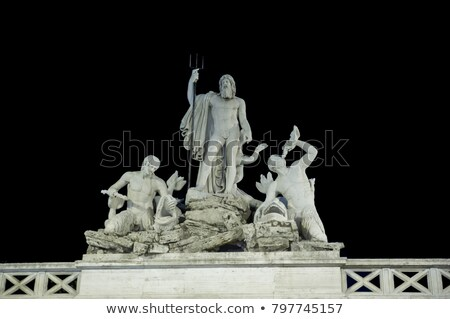 Fountain of Greek God Neptune, Piazza del Popolo, Rome, Italy Stock photo © ankarb