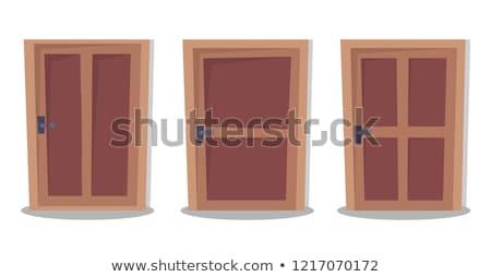 wooden door set interior apartment closed door with iron hinges stock photo © andrei_