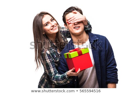 Woman closing eyes to her man Stock photo © deandrobot