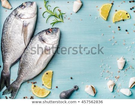 Friss nyers tenger hal citrom szeletek Stock fotó © Lana_M
