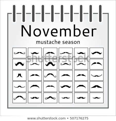 Stock photo: November Movember calendar with vintage curly moustache.