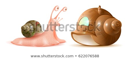Cartoon snail looks at new shell of house. Buying property Stock photo © orensila
