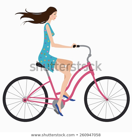 young girl riding bicycle wind in hair stock photo © is2