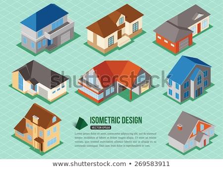Huis herenhuis isometrische projectie geïsoleerd witte Stockfoto © orensila