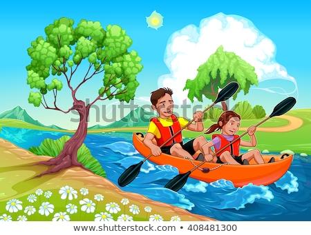 Vader dochter kajak rivier vector cartoon Stockfoto © ddraw