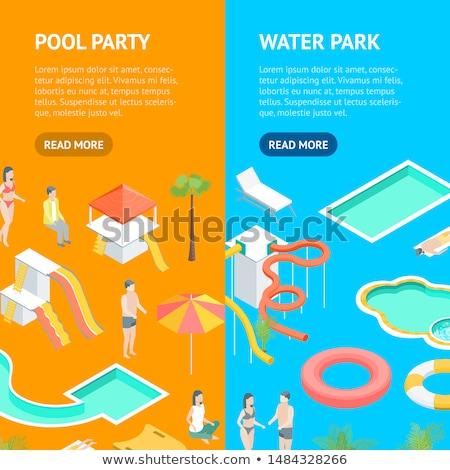 amusement park isometric vertical flyers stock photo © studioworkstock