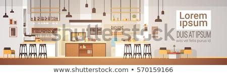 Bakery shop interior banner in cartoon style Stock photo © studioworkstock