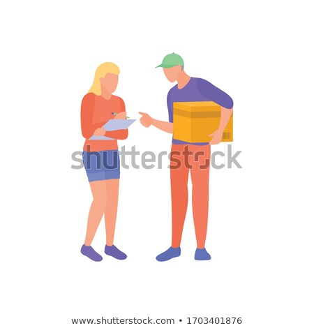 Delivery service worker with checklist Stock photo © studioworkstock