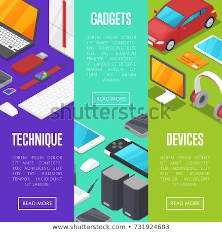 moderne · draadloze · gadgets · isometrische · posters · computer - stockfoto © studioworkstock