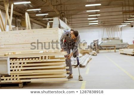 jonge · mannen · werken · timmerhout · workshop · twee · knap - stockfoto © boggy