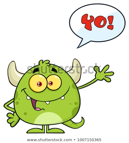 Happy Devil Cartoon Emoji Character Waving For Greeting With Speech Bubble Stock photo © hittoon