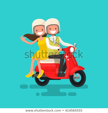 Comic young woman rides on the scooter Stock photo © tiKkraf69