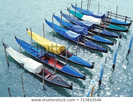 Eight docked gondolas in Venice Stock photo © IS2