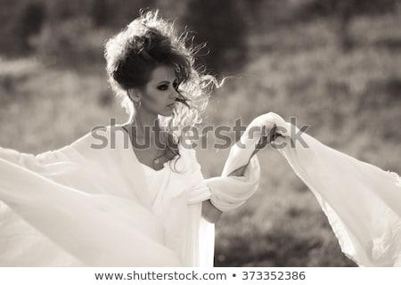 Heroïne witte illustratie rook silhouet tekening Stockfoto © bluering