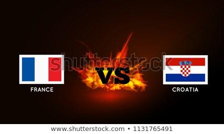 Bayraklar Fransa Hırvatistan vs simge yangın Stok fotoğraf © m_pavlov