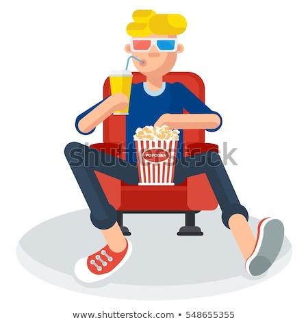 Jongen eten popcorn vent Stockfoto © robuart
