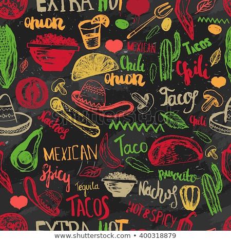Taco mexicaans eten naadloos vector patroon heldere Stockfoto © yopixart