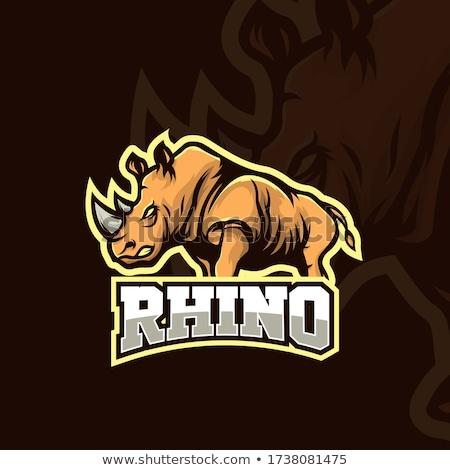 Cartoon Rhino Silhouette Angry Stock photo © cthoman