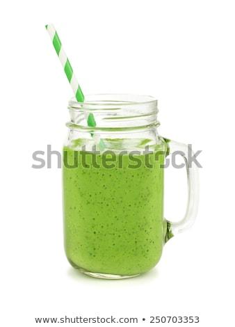 Bögre üveg zöld smoothie fölött lövés asztal Stock fotó © dash