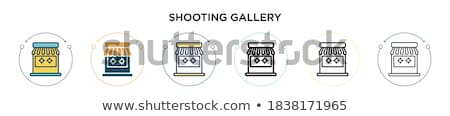 shooting gallery   thin line design style vector illustration stock photo © decorwithme