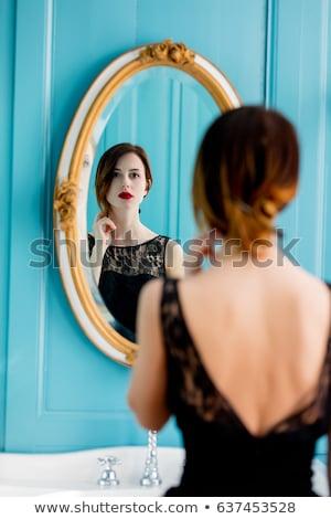Tükröződés tükör gyönyörű barna hajú szexi fiatal Stock fotó © acidgrey
