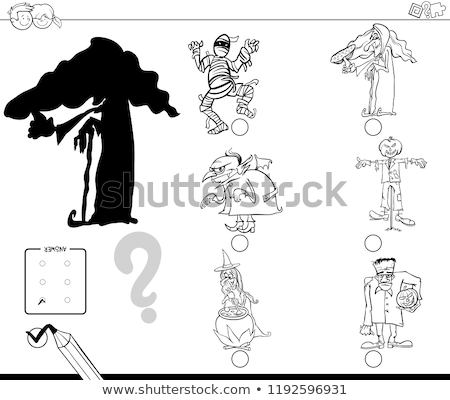 shadow game with scary halloween characters color book stock photo © izakowski