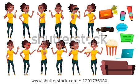 teen girl poses set vector black afro american active expression for presentation print invit stock photo © pikepicture