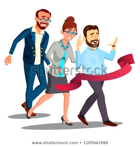 Business Training, Office Employees In Business Suits Runing To Finish Line Vector. Isolated Illustr Stock photo © pikepicture