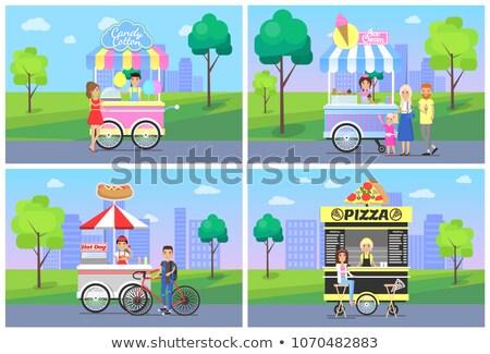 Tasty Pizza and Sweet Ice Cream on Street Carts Stock photo © robuart