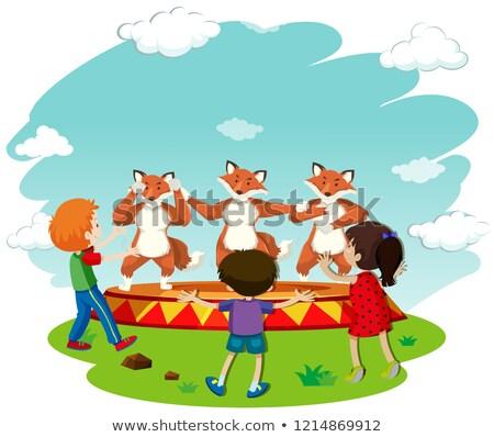 子供 を見て キツネ ダンス パフォーマンス 実例 ストックフォト © bluering