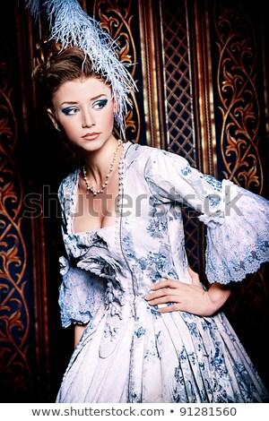 Bellezza fan medievale abito bella ragazza studio Foto d'archivio © msdnv