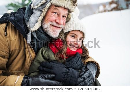 élvezi · tél · ünnepek · portré · aranyos · mosolyog - stock fotó © anna_om