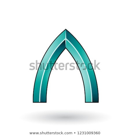 Persian Green Glossy Embossed Letter I with a Dark Stroke Vector Stock photo © cidepix