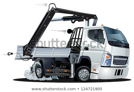 Vector Cartoon Lkw Truck With Crane Isolated Stock fotó © Mechanik