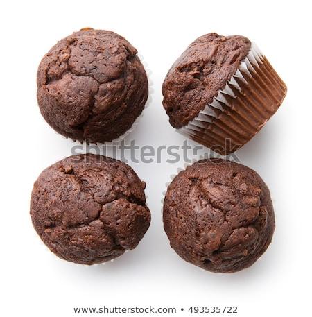 Házi készítésű csokoládé muffinok egyszerű desszert papír Stock fotó © Peteer