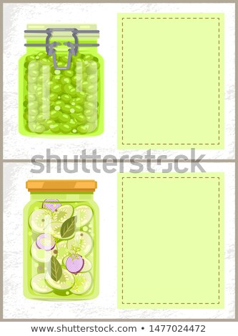 Green Peas and Canned Zucchini in Jars Banners Stock photo © robuart