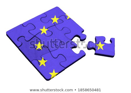 Stock photo: flag EU and  Great Britain on puzzle. Isolated 3D illustration