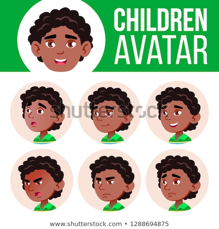 Black, Afro American Boy Avatar Set Kid Vector. Kindergarten. Face Emotions. Portrait, User, Child.  Stock photo © pikepicture