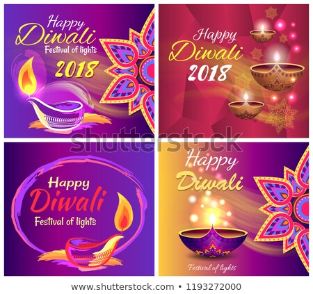 happy diwali festival of light 2018 set of posters stock photo © robuart