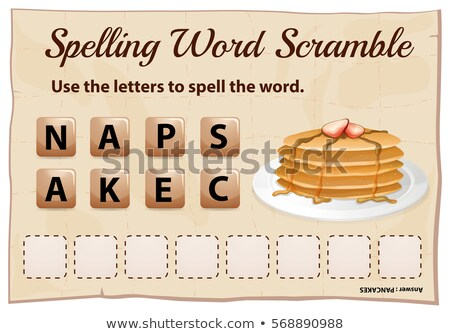 Spelling word scramble template with word pancake Stock photo © colematt