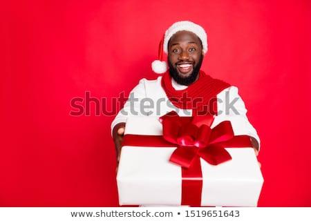 портрет смешные афроамериканец парень свитер Сток-фото © deandrobot